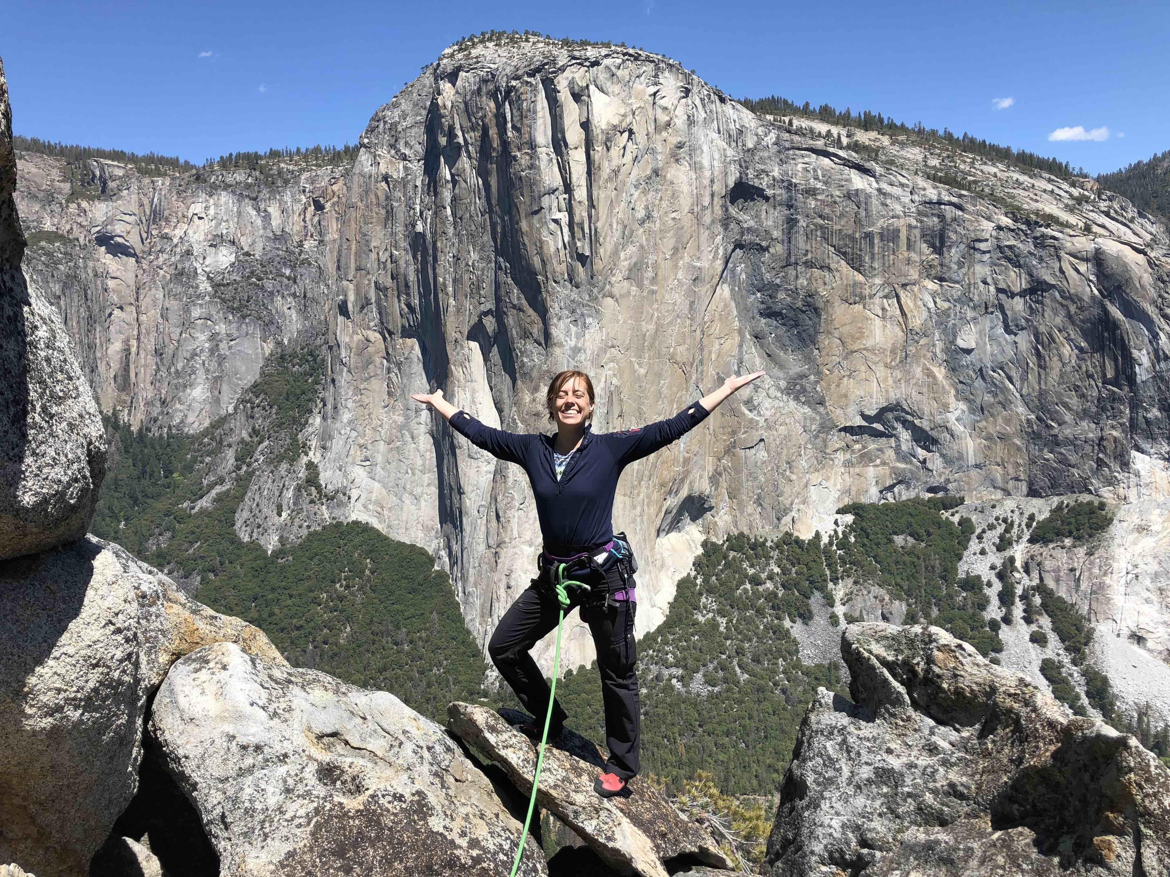 Melinda rock climbing