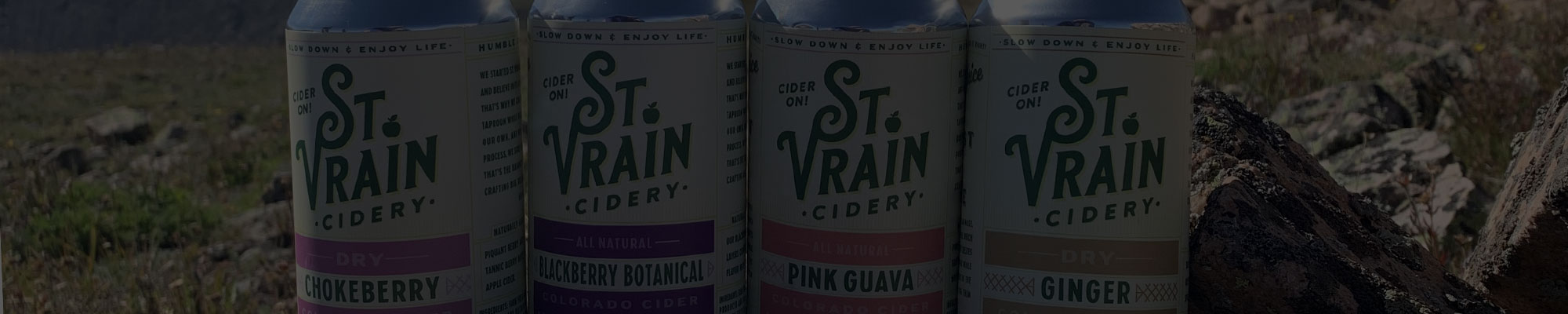 St. Vrain Cidery cans in the Colorado mountains