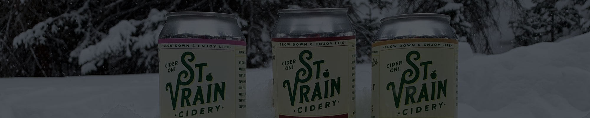 winter St. Vrain Cidery cans